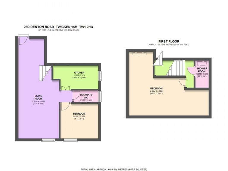 Floorplans For Denton Road, Twickenham